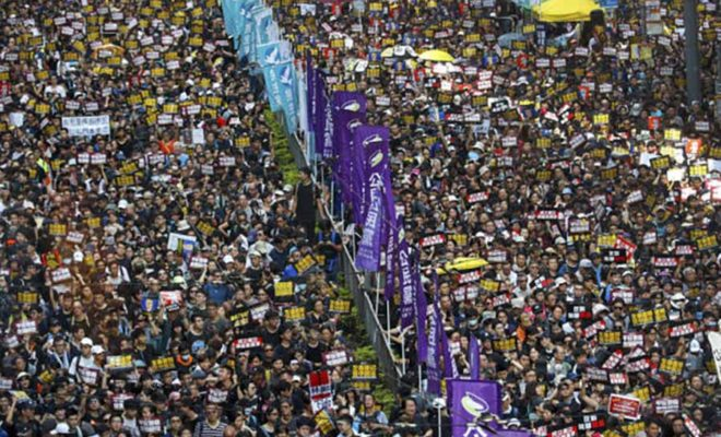 rally in Hong Kong